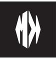 mk logo monogram with octagonal ribbon style vector image vector image