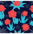 Night Desert Cacti Flowers Seamless Pattern vector image vector image
