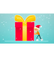 one little boy move new year gift vector image vector image