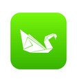 origami swan icon green vector image
