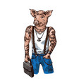 pig dressed hand drawn humanized vector image vector image