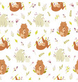 seamless pattern with cute animals families polar vector image