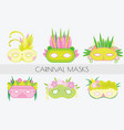set of carnival masks masquerade masks in flat vector image