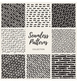 Set of Nine Seamless Lines Patterns vector image vector image