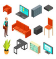 set of office isometric icons sofa chair vector image vector image