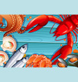 set of seafood on wooden background vector image