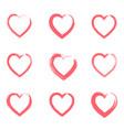 set outline grunge brushes red textured hearts vector image vector image