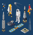 space isometric set vector image vector image