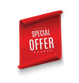 special offer ribbonred scroll banner vector image vector image