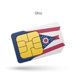 State of Ohio phone sim card with flag vector image vector image