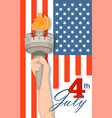 statue of liberty hand with torch and flag on vector image vector image