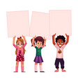 three kids holding blank empty posters boards vector image vector image