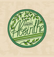 vintage absinthe label badge strong alcohol logo vector image vector image