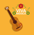 viva mexico guitar instrument music flower vector image vector image