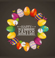 happy easter card round frame decoration with eggs vector image