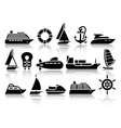 Set of Water transport black icons vector image