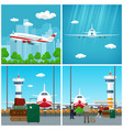 airport waiting room with people and airplane vector image vector image