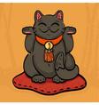 black maneki neko talisman cat beckoning wealth vector image