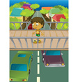 Boy on overpass vector image
