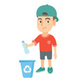 boy throwing plastic bottle in recycle bin vector image
