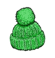 Bright green winter knitted hat with pompon vector image vector image