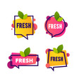 bright speech bubble sticker with leaf fresh word vector image vector image