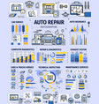 car repair service infographics with spare parts vector image vector image