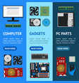 cartoon pc components banner vecrtical set vector image vector image