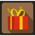 Christmas box with yellow bow icon flat style vector image vector image