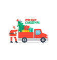 christmas truck and christmas tree vector image