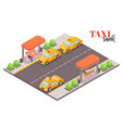 city taxi stop composition vector image vector image