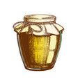 color designed homemade jam glass bottle closeup vector image