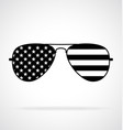 cool aviator sunglasses with usa flag black white vector image vector image
