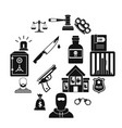 crime and punishment icons set simple style vector image vector image