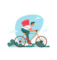 delivery courier on bicycle with parcel order vector image vector image