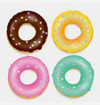 donut set hand drawn bakery design pop art vector image
