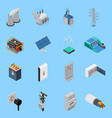 electricity isometric icons set vector image vector image