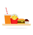 fast food on a tray vector image vector image