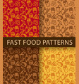 fast food seamless patterns vector image vector image