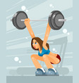female weight lifter vector image