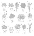flowers and bouquet icons vector image vector image