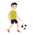 funny little boy dressed in sportswear playing vector image