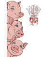funny pigs and a wish for a happy new year vector image vector image