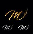 golden letter m monogram initial sign vector image vector image