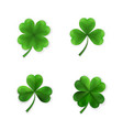 green four and tree leaf clovers irish lucky vector image vector image