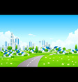 Green landscape with city and small village vector | Price: 3 Credits (USD $3)