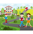 group of student going to school vector image