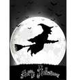 halloween background witch on full moon vector image