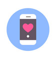heart icon on smart phone message on blue round vector image