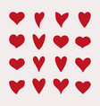 heart symbol set red color isolated on white vector image